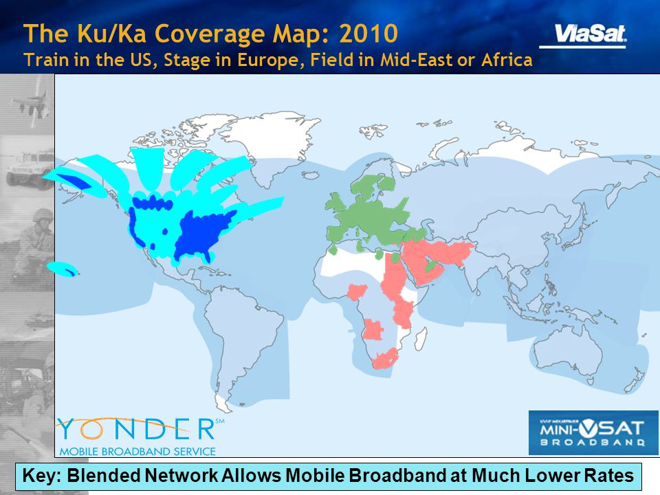 The Ku/Ka Coverage Map: 2010 Train in the US, Stage in Europe, Field in Mid-East or Africa