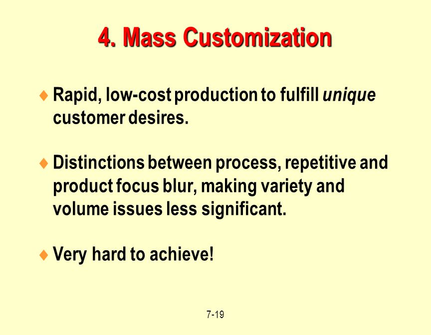 4. Mass Customization Rapid, low-cost production to fulfill unique customer desires.
