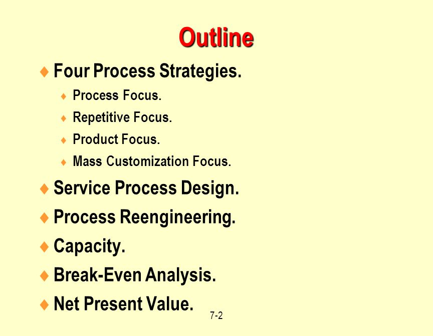 Outline Four Process Strategies. Service Process Design.