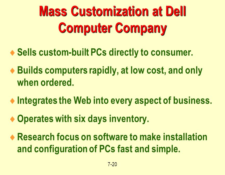 Mass Customization at Dell Computer Company