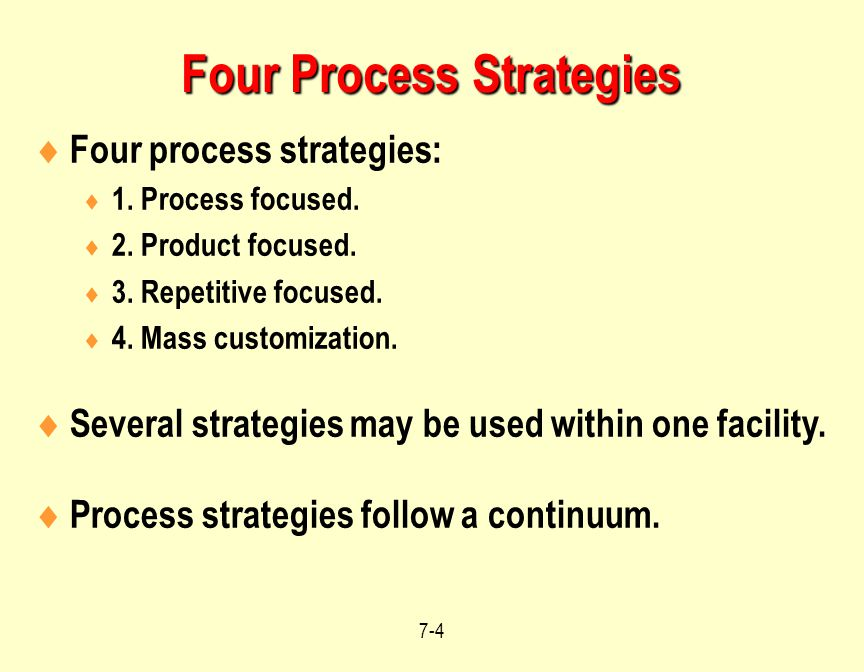 Four Process Strategies