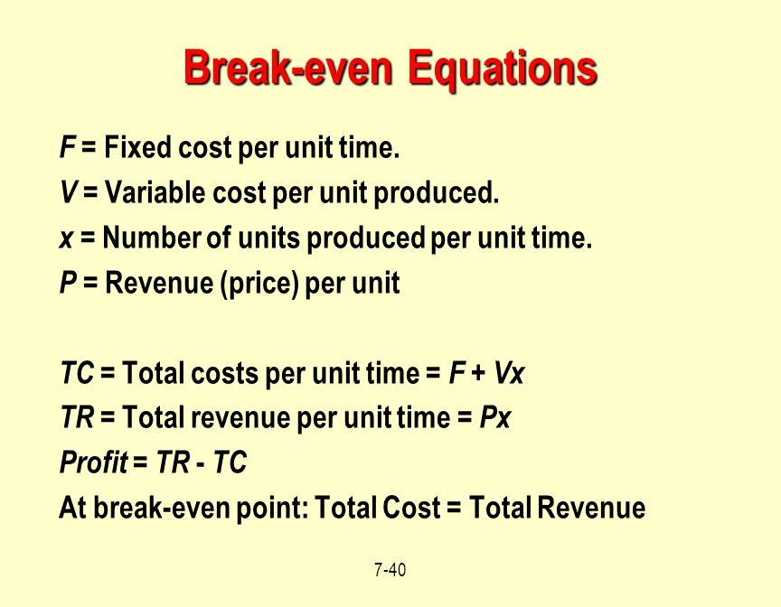 Break-even Equations F = Fixed cost per unit time.