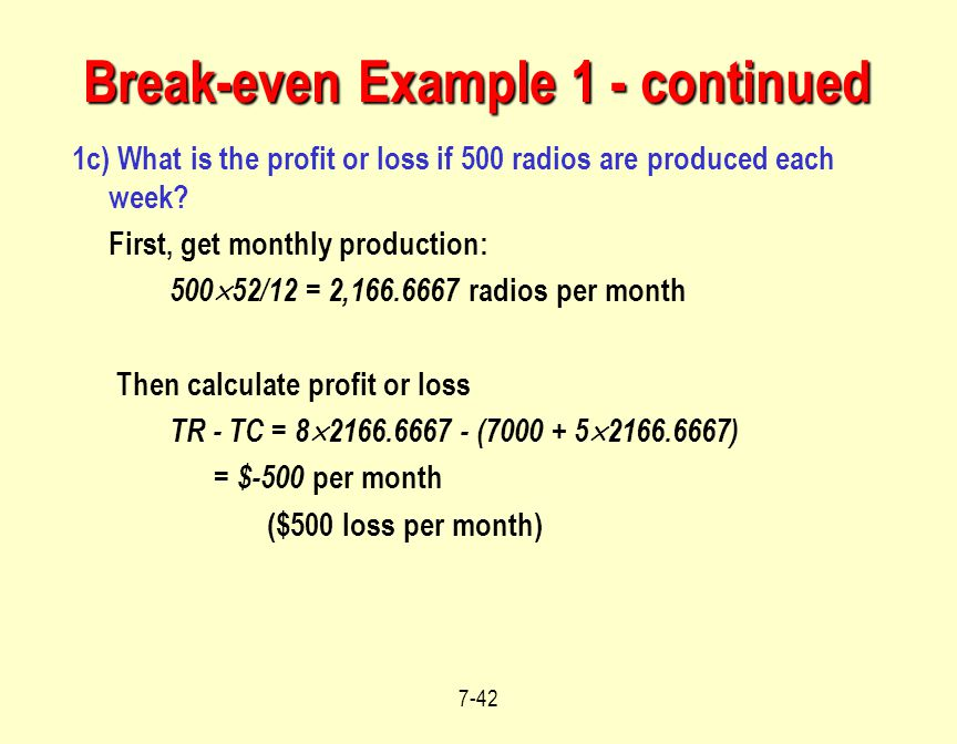 Break-even Example 1 - continued