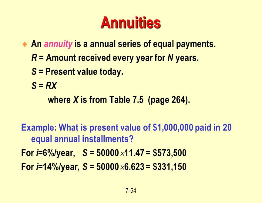 Annuities An annuity is a annual series of equal payments.
