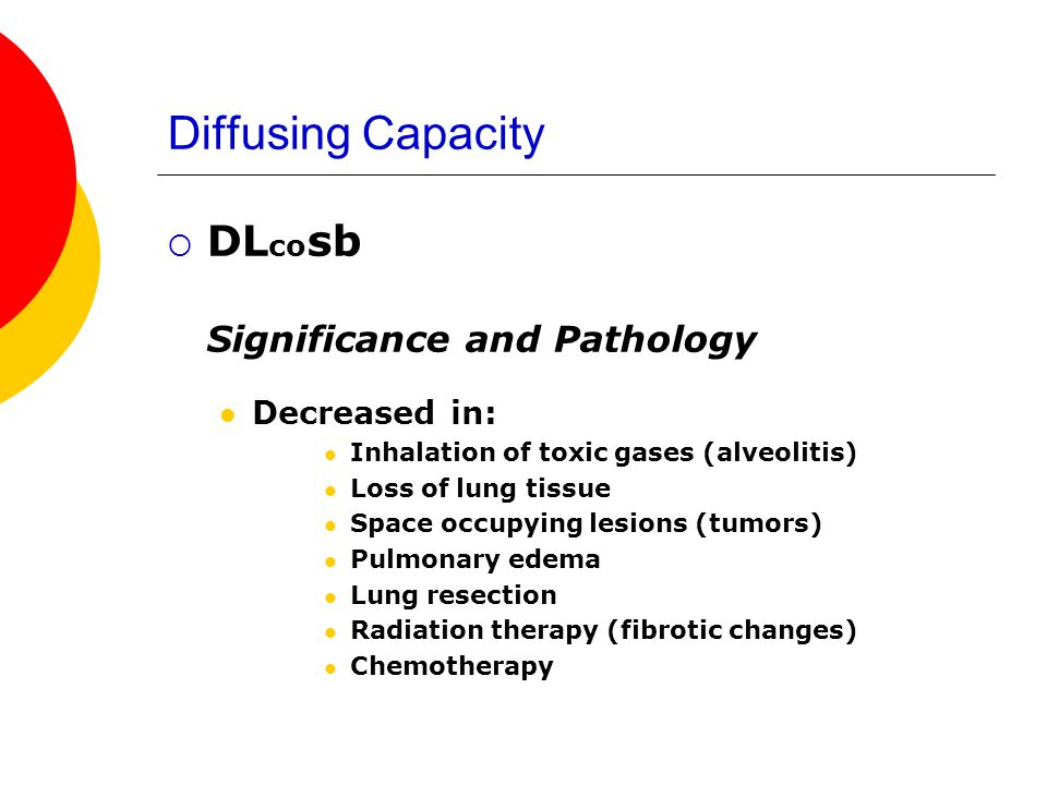 Diffusing Capacity DLcosb Decreased in: Significance and Pathology