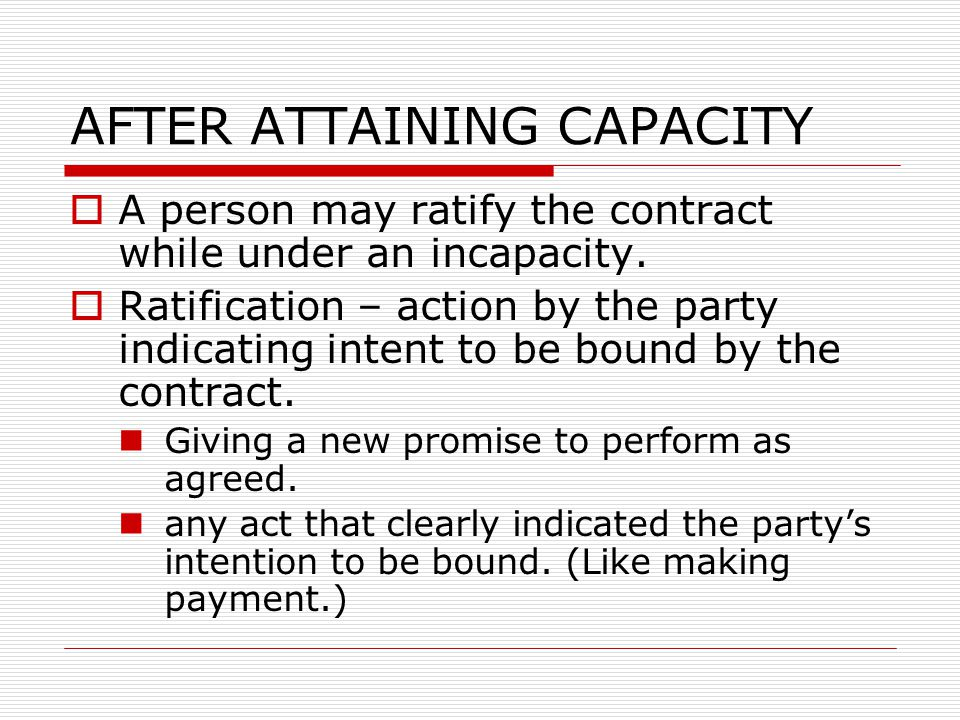 AFTER ATTAINING CAPACITY
