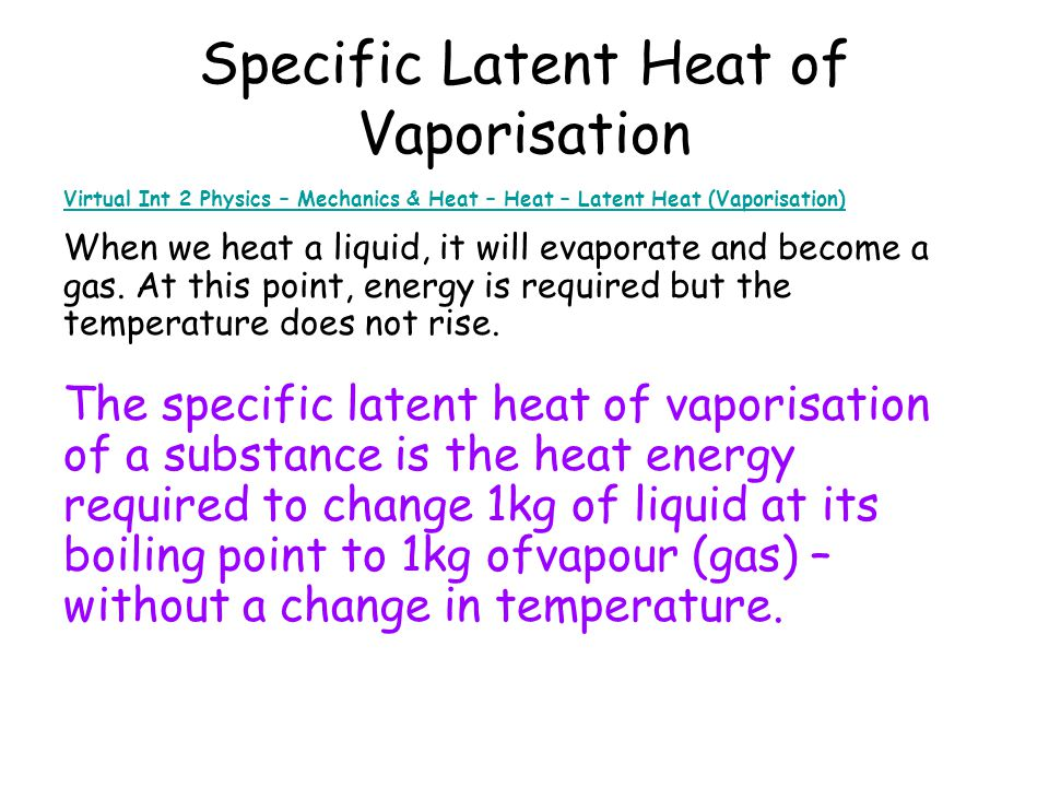 Specific Latent Heat of Vaporisation