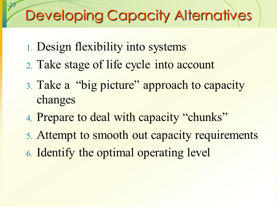 Developing Capacity Alternatives