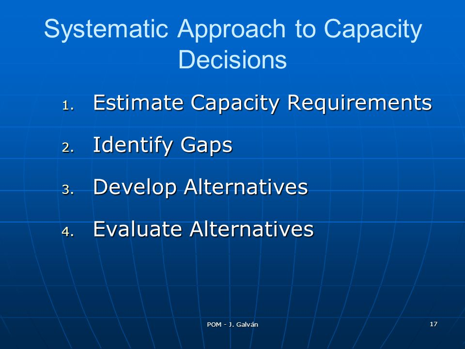 Systematic Approach to Capacity Decisions