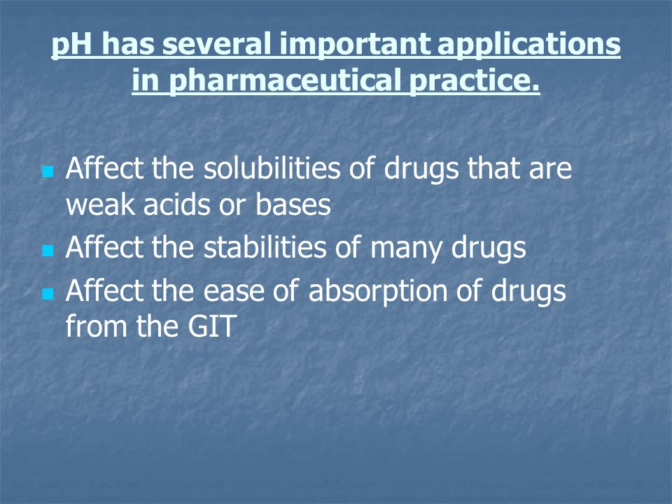 pH has several important applications in pharmaceutical practice.