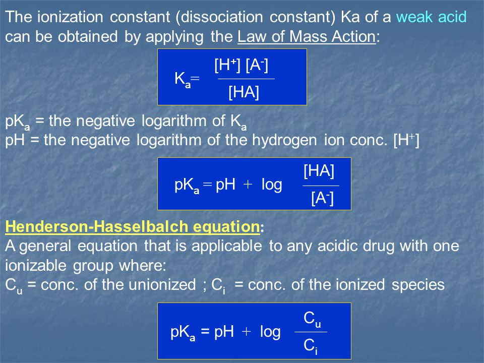 The ionization constant (dissociation constant) Ka of a weak acid can be obtained by applying the Law of Mass Action: