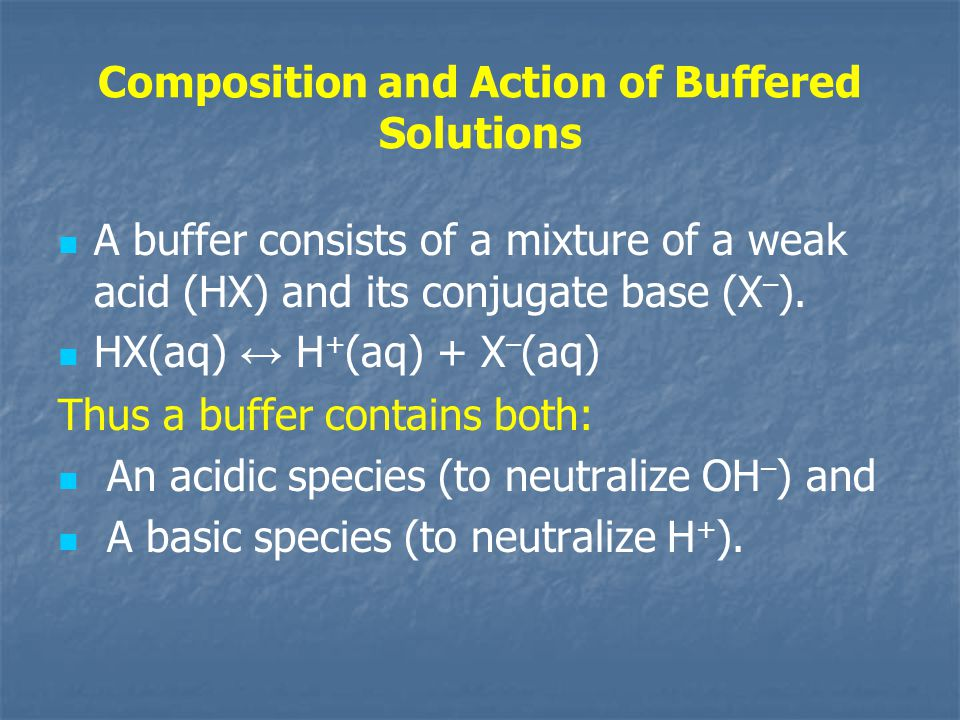Composition and Action of Buffered Solutions