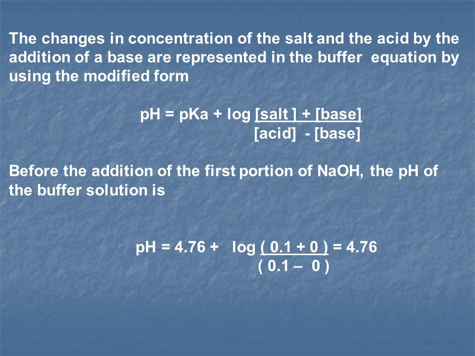 The changes in concentration of the salt and the acid by the addition of a base are represented in the buffer equation by using the modified form
