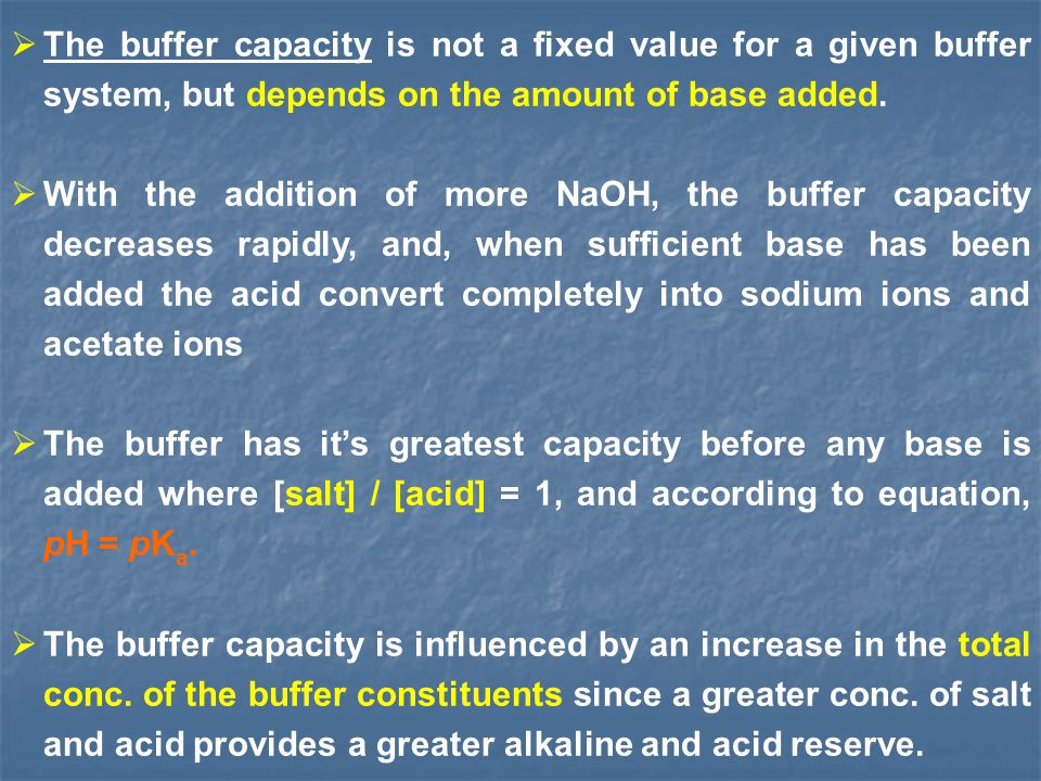 The buffer capacity is not a fixed value for a given buffer system, but depends on the amount of base added.