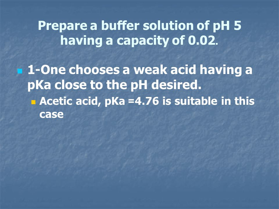 Prepare a buffer solution of pH 5 having a capacity of 0.02.