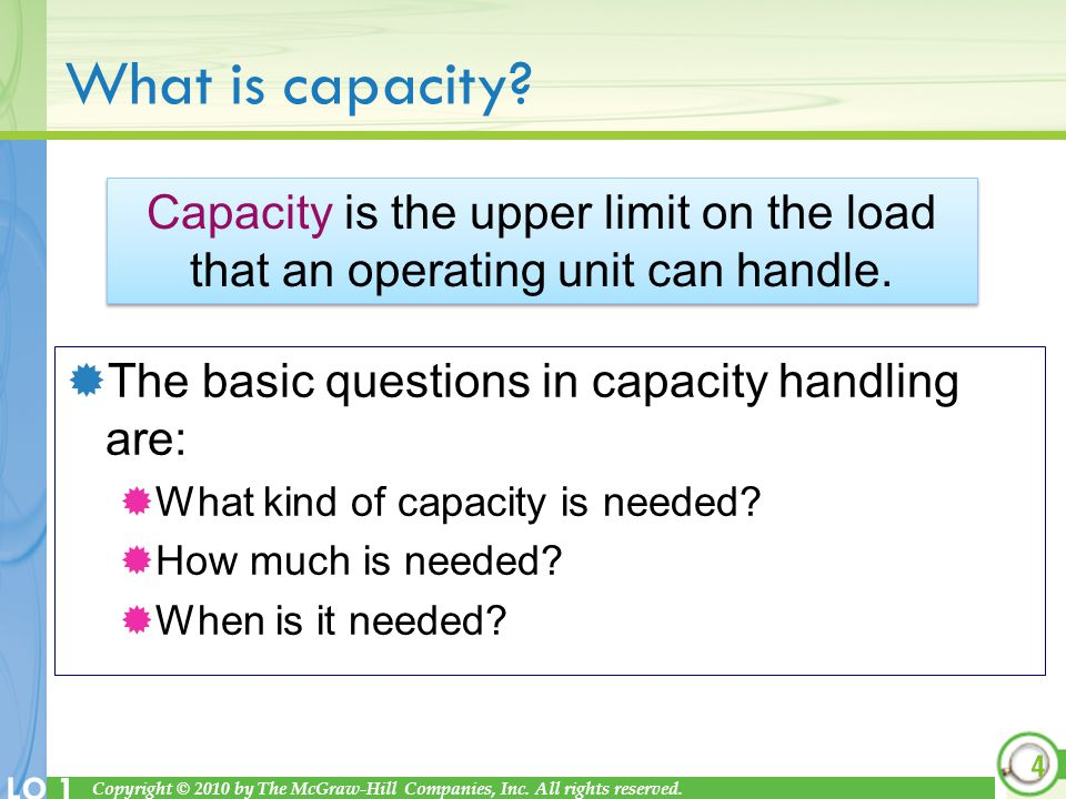 What is capacity Capacity is the upper limit on the load that an operating unit can handle. The basic questions in capacity handling are: