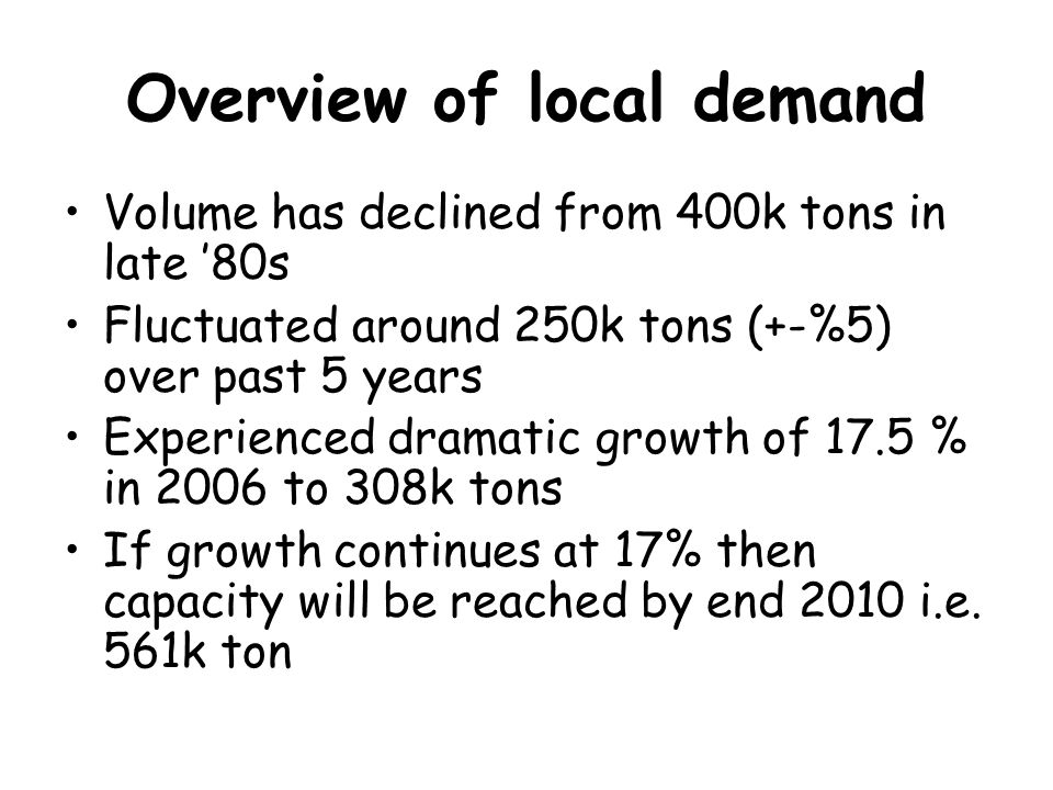 Overview of local demand