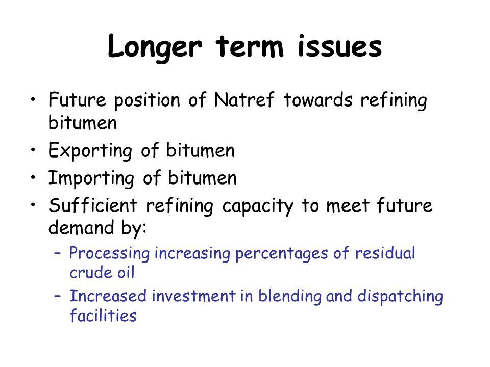 Longer term issues Future position of Natref towards refining bitumen