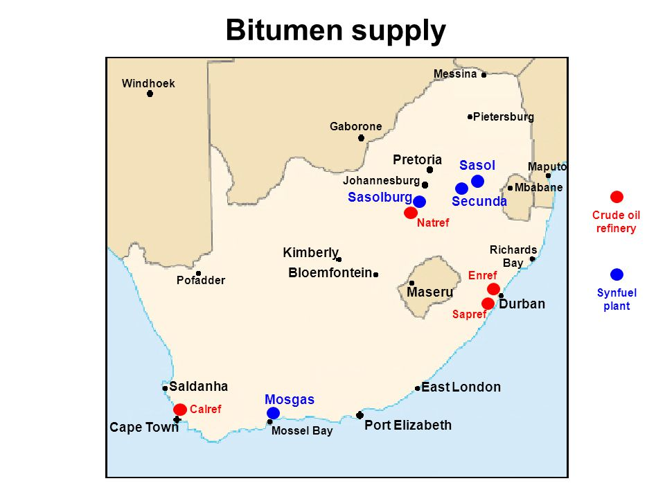Bitumen supply Pretoria Sasol Sasolburg Secunda Kimberly Bloemfontein