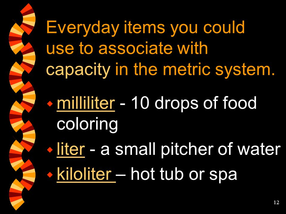 Everyday items you could use to associate with capacity in the metric system.
