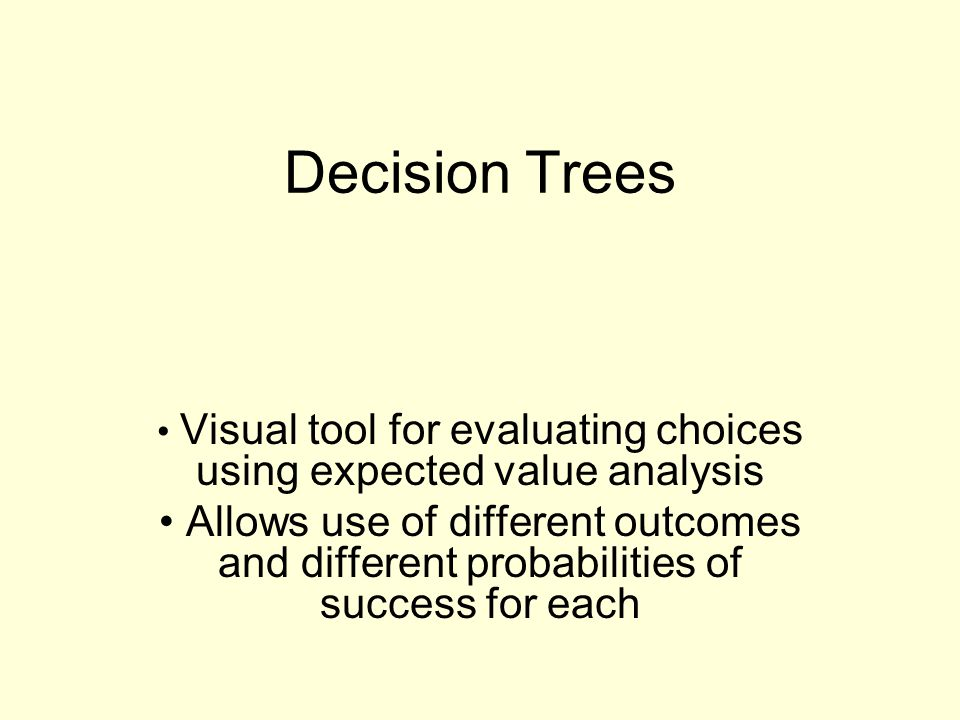Visual tool for evaluating choices using expected value analysis