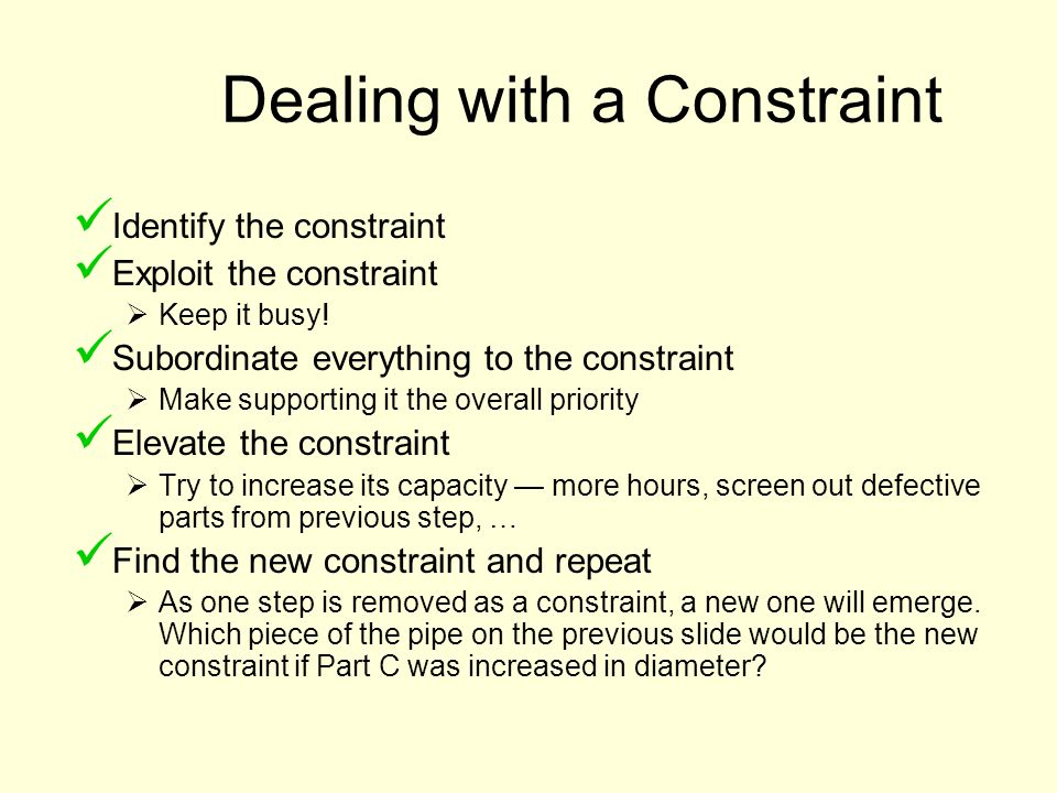 Dealing with a Constraint