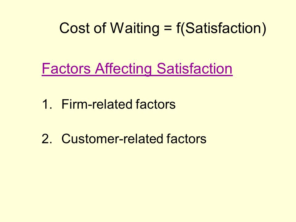 Cost of Waiting = f(Satisfaction)