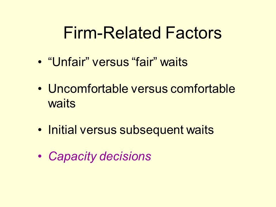 Firm-Related Factors Unfair versus fair waits