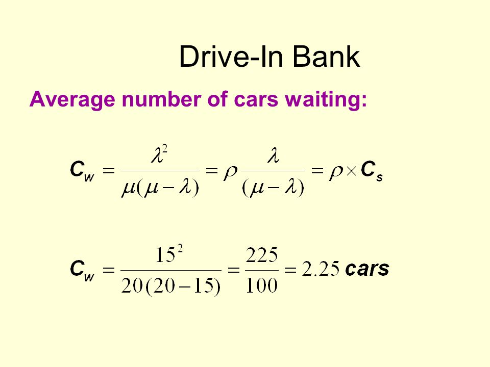 Drive-In Bank Average number of cars waiting: