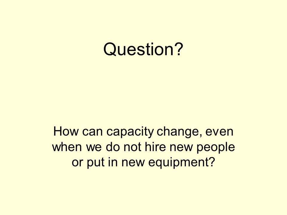 Question How can capacity change, even when we do not hire new people or put in new equipment