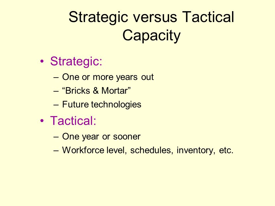 Strategic versus Tactical Capacity