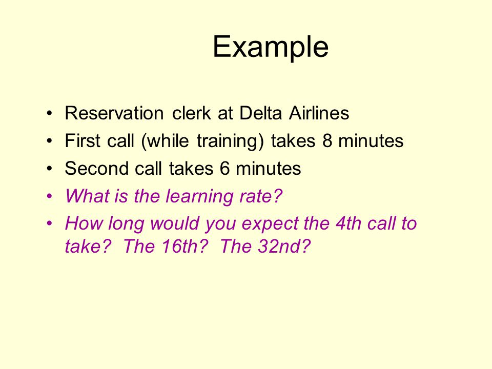 Example Reservation clerk at Delta Airlines