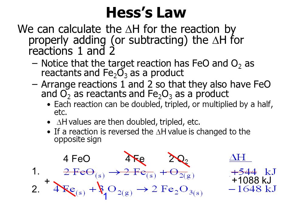 Hess's Law We can calculate the H for the reaction by properly adding (or subtracting) the H for reactions 1 and 2.