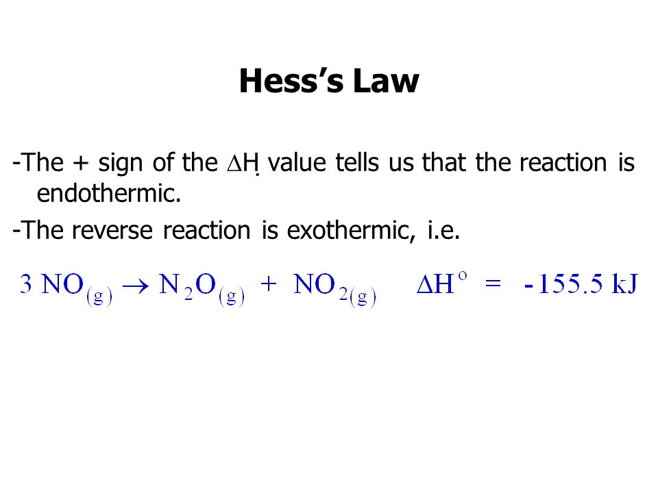 Hess's Law -The + sign of the H value tells us that the reaction is endothermic.
