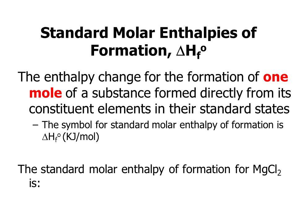 Standard Molar Enthalpies of Formation, Hfo