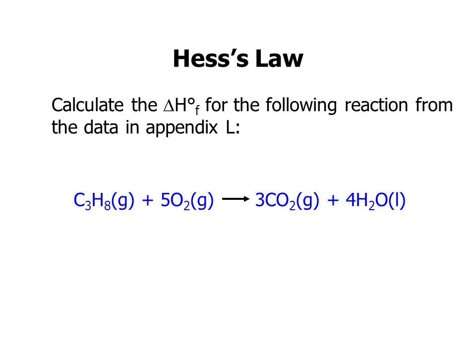 C3H8(g) + 5O2(g) 3CO2(g) + 4H2O(l)