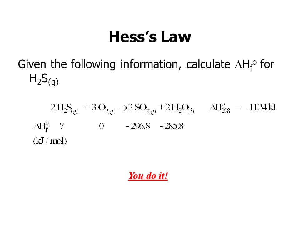 Hess's Law Given the following information, calculate Hfo for H2S(g)