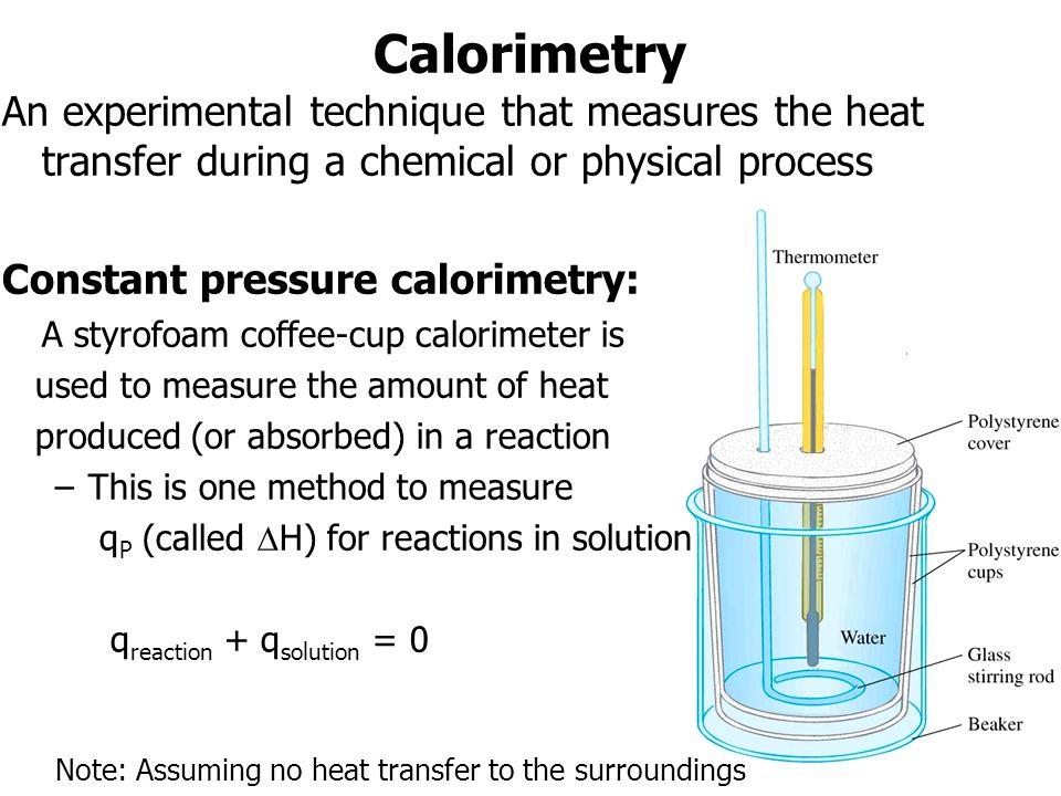 Calorimetry An experimental technique that measures the heat transfer during a chemical or physical process.