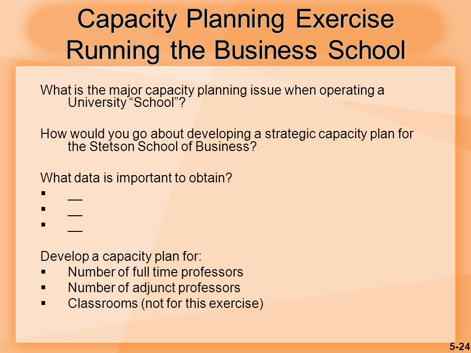 Capacity Planning Exercise Running the Business School