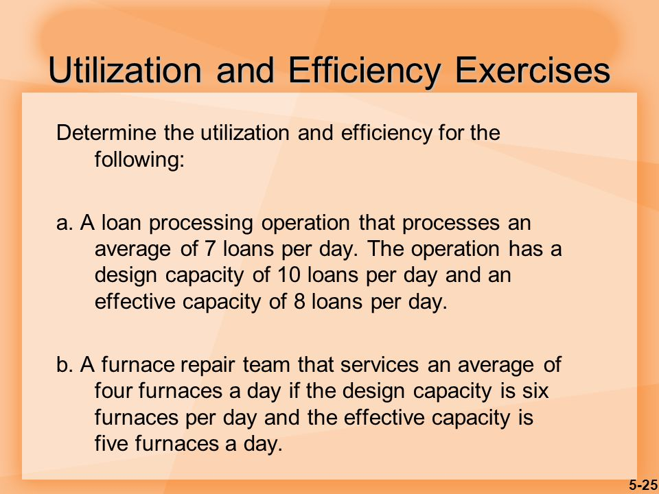 Utilization and Efficiency Exercises