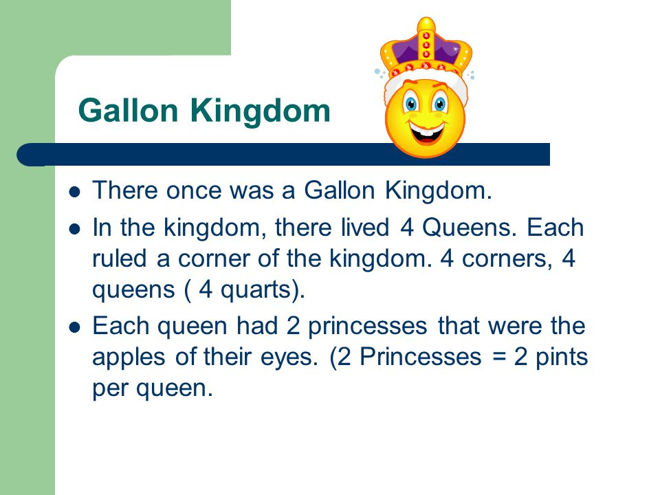 Gallon Kingdom There once was a Gallon Kingdom.