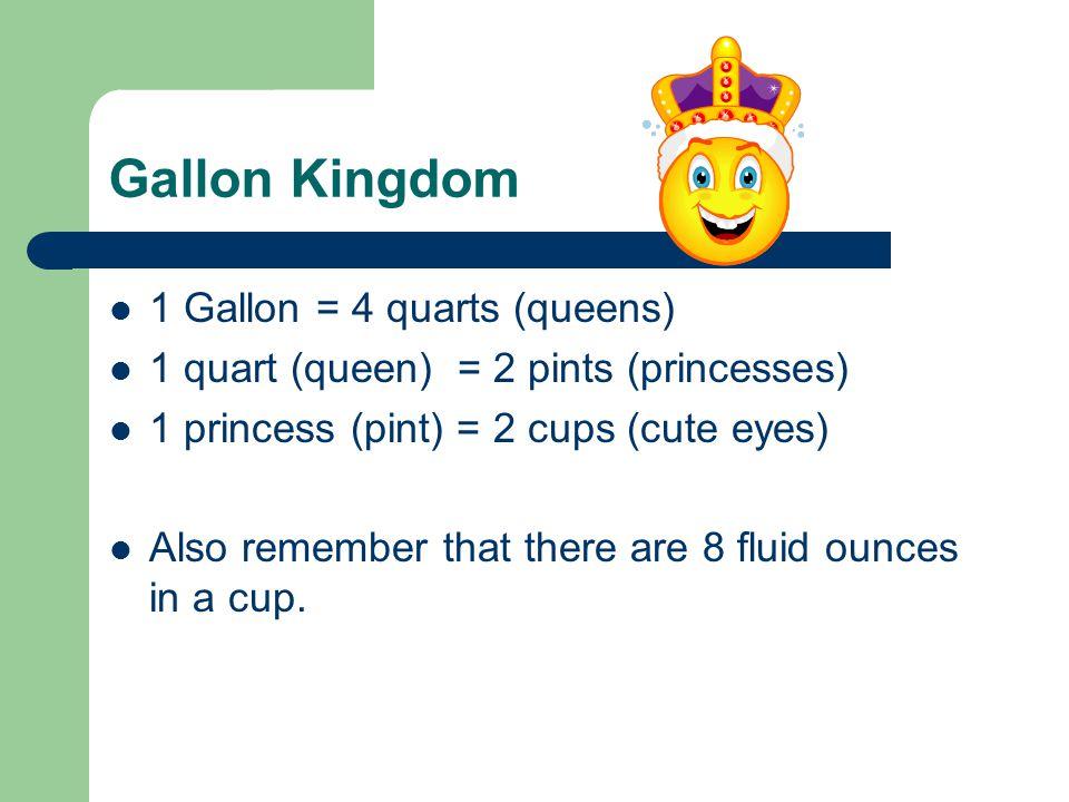 Gallon Kingdom 1 Gallon = 4 quarts (queens)