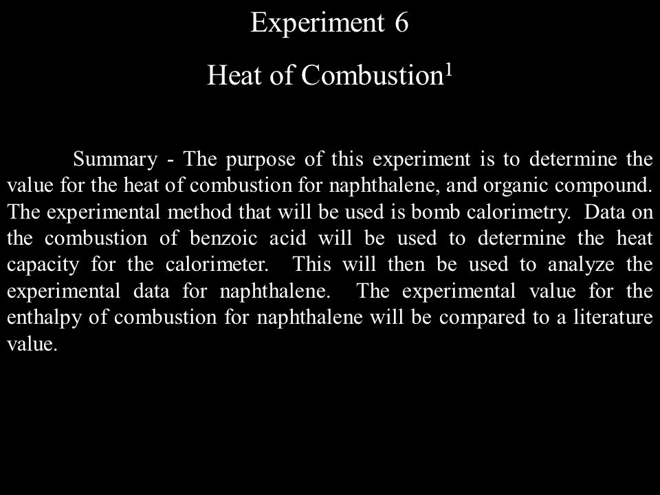 Experiment 6 Heat of Combustion1