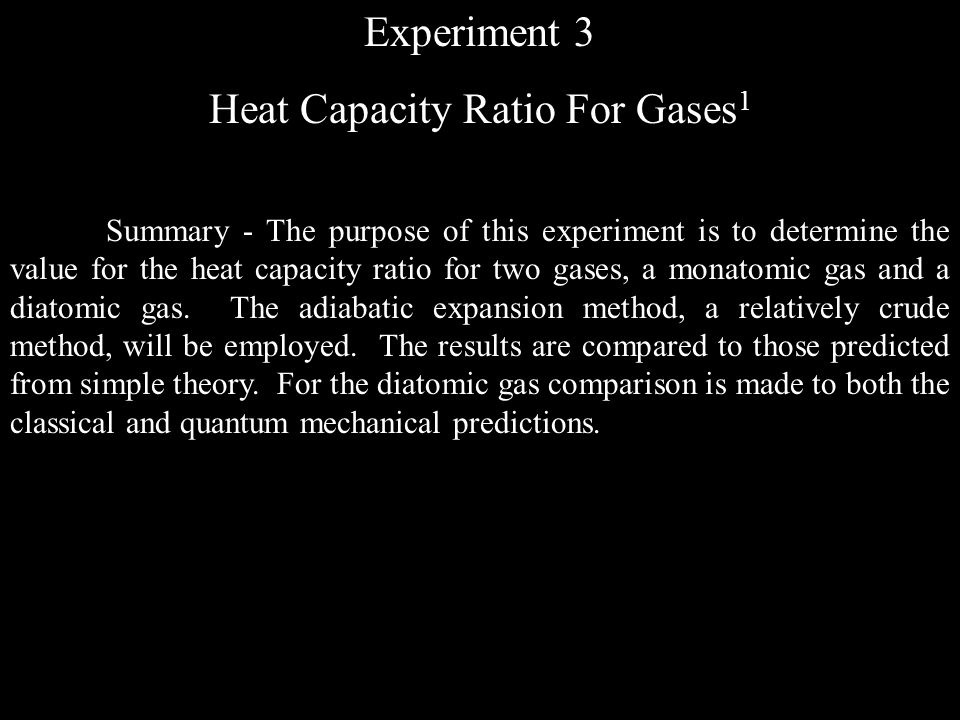 Heat Capacity Ratio For Gases1
