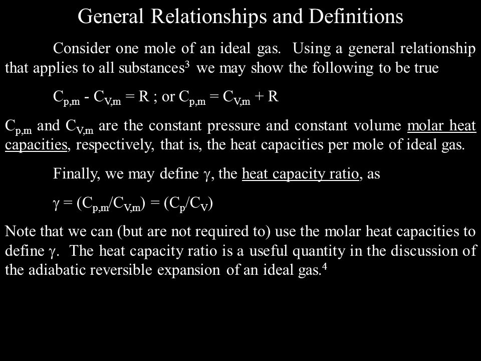 General Relationships and Definitions