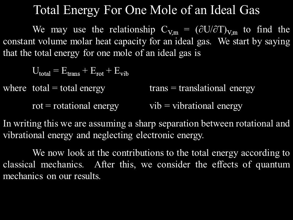 Total Energy For One Mole of an Ideal Gas