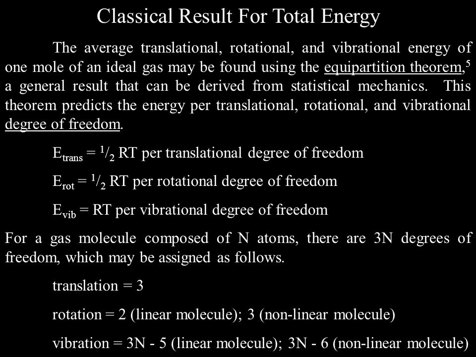 Classical Result For Total Energy