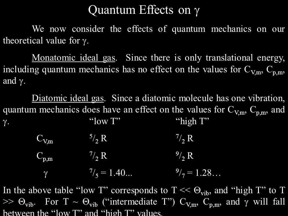 Quantum Effects on  We now consider the effects of quantum mechanics on our theoretical value for .