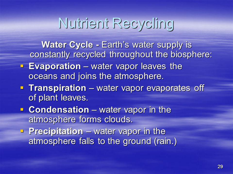 Nutrient Recycling Water Cycle - Earth's water supply is constantly recycled throughout the biosphere: