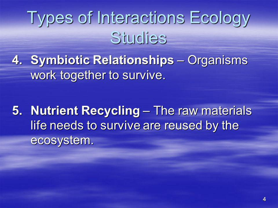 Types of Interactions Ecology Studies